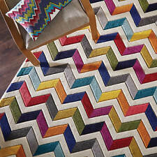 Spectrum Bolero Rugs Multi Coloured Modern Contemporary Zig Zag Rug and Runner