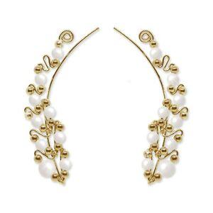 Ear Climbers Ear Crawlers Sweeps Earrings Gold with Swarovski White Pearls #247