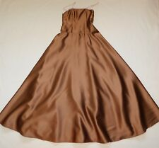 Jim Hjelm Tan Satin Formal Gown Pink Spaghetti Strap Full Skirt Prom Girls 12