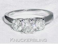 Diamond 3-Stone Trilogy Round Ring 1.00ct Brilliant Cut in 18ct White Gold