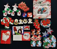 Vintage 30s-40s Lot 87 Die Cut Unused Usa Christmas Seals/Stickers 2 Gift Cards