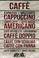 Caffe Cappuccino verschiedenes Blechschild Schild Tin Sign 20 x 30 cm FA0338
