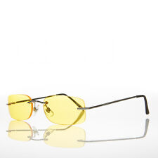 90s Rimless Rectangle Hippie Sunglasses with Color Tinted Lens Yellow -Bea