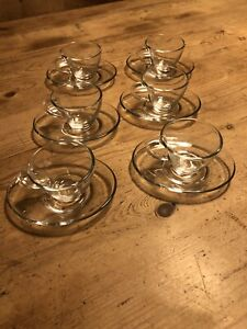 Vintage glass espresso cups and saucers set of six - Perfect Condition