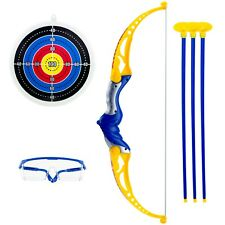 Bow and Arrow Archery Set Toy 3 Suction Arrows Target Safety Glasses Shoot game