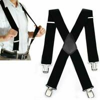 Mens Heavy Duty Suspenders Adjustable Clip On Work Braces Wide Solid Color