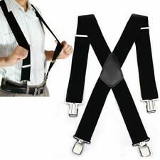 Men's Heavy Duty Suspenders Adjustable Clip On Work Braces Wide Solid Color''