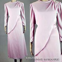 VTG 80s Cream Pink Beaded sequin Chiffon Boho Goddess Evening Maxi Dress Sz M