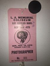 Vintage 1970 Los Angeles Rams vs. New York Jets Photographer's  Pass