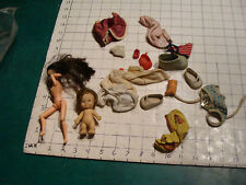 vintage lot of 4 Plastic dolls and clothes, misc. differant stuff