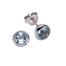ZEEme Jewelry Ohrschmuck Ohrstecker 925 Sterling Silber rhodiniert Blautopas