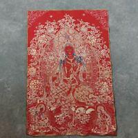 """36"""" Tibet Tibetan Cloth Silk Red Tara Guanyin Kwan-yin Tangka Thangka Painting"""