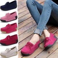 Low Wedge Heel Platform Bowknot Womens Tassel Slip On Loafers Sneaker Shoes Size