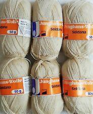 6 x 50g Junghans Wolle  Strickwolle  30% Schurwolle 20% Seide beige