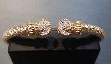 Vahan Sterling Silver & 14K Gold 4MM Pave Diamond Bangle Bracelet-21647D- NEW
