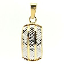 18k Two-tone Diamond Cut Pendant