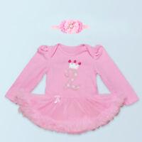 Long Baby Girls' 2PCs Pink 2nd Birthday Crown Tutu Dress Headband 13-24Months