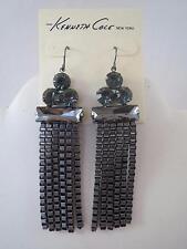 Kenneth Cole hematite~smokey crystal dangle earrings, NWT