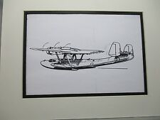 German Dornier Do 24 Sea Plane artist pen ink drawing 1964 New York Worlds Fair
