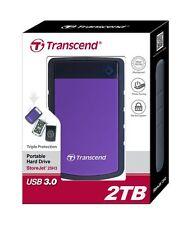 Transcend StoreJet 2TB Hard Drive USB 2 TB External Portable TS2TSJ25H3P HDD New