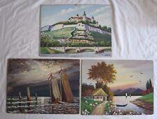 Vintage 1950s German 3 Paintings Marienberg Fortress By P Tzschenike Wurzburg
