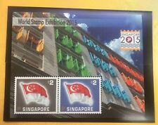 Singapore - 2015 World Stamp Exh M sheet special SILK MNH flags SG50