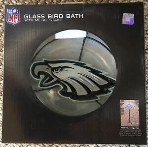 NFL Philadelphia Eagles Glass Bird Bath w/Metal Stake - New