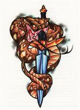 Temporary Tattoo, Einmal Tattoo  Bullseye BFIT-01, Schlange und Schwert