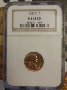 1955 S 1c Lincoln Cent MS66RD NGC Fatty Holder