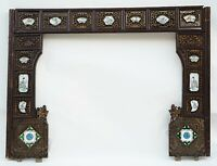 Unikat Antik China Holz Relief Bett-Eingang, Mandarin Verde Porzellan 18 Jh.