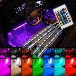 4pcs 9LED Remote Control Colorful RGB Car Interior Floor Atmosphere Light Strip*