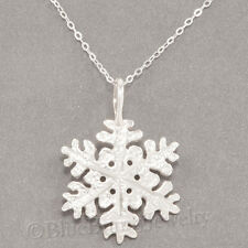 "SNOWFLAKE Necklace Snow Flake Charm diamond cut Pendant STERLING SILVER 18"" 925"