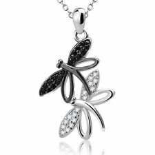 925 Sterling Silver Black and White Crystal CZ Charm Couple Dragonfly Necklace