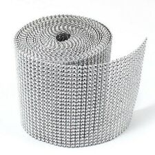 "4.5"" x 9ft Wedding Decoration Supplies Rhinestone Diamond Wraps Ribbon Mesh"
