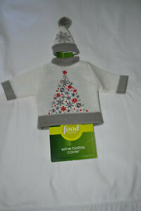 NEW Wine Bottle Fancy Christmas Sweater Cover and Cap with PomPom
