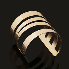 Hollow Punk Cuff Bangle Bracelet Women's Gold Water Rippled Carved Multilayers