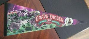 MONSTER JAM TRUCK FELT PENNANT FLAG  GRAVE DIGGER 25th Anniversary A17