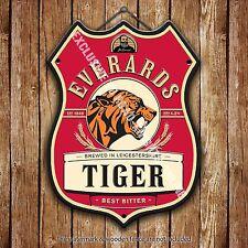 Everards Tiger Beer Advertising Bar Old Pub Metal Pump Badge Shield Steel Sign