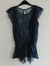Gorgeous Grey Lace Style Frilled Top  - Size 12 - BNWOT!