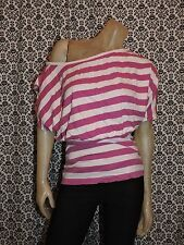 Susie Rose Purple Pink Off Shoulder Short Slv Shirt Blouse Juniors MEDIUM USED