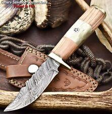 Handmade Damascus Steel Blade Hunting Knife   OLIVE WOOD