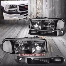 Black Housing Headlight+Clear Corner+Bumper Light For GMC 99-06 Sierra/Yukon C3