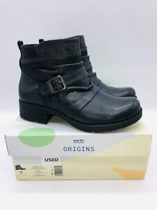 Earth Origins Women's Randi Roland Leather Ankle Boots with Buckle Black US 8