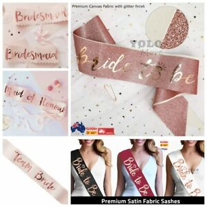 Team Bride To Be Sash Hens Do Party Rose Gold Wedding Sashes Bridal Shower AUS