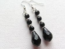 Jet Black Facet Cut Crystal Beaded Drop/Dangle PIERCED Earrings Jellybean