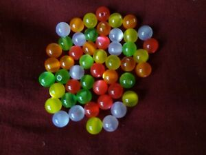 50 8mm Resin Cats Eye Beads for Jewellery Making