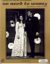 JOHNNY CASH & JUNE CARTER 1971 No Need To Worry SHEET MUSIC Country J. M. HENSON