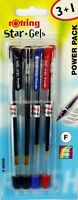 4 x Rotring STAR GELS Gel Ballpoint Pens 2 x Black, Blue, Red