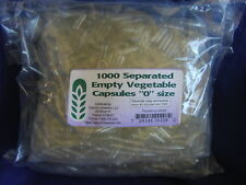 1000 SEPARATED EMPTY 0 VEGETABLE CAPSULES Saves time!