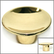 """ROUND Gold / Polished Brass Cabinet Knobs Drawer Pull Hardware 1.5"""" Dia. NEW"""